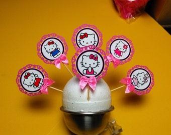 24 set Hello Kitty cupcake toppers ,Hello kitty theme party ,Hello kitty inspired topper