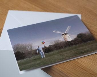 Windy sleepwalk - a moonlit, long exposure seascape. Fine art photography greetings card. Blank inside.