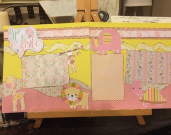 Two 12 x 12 premade its a girl scrapbook pages