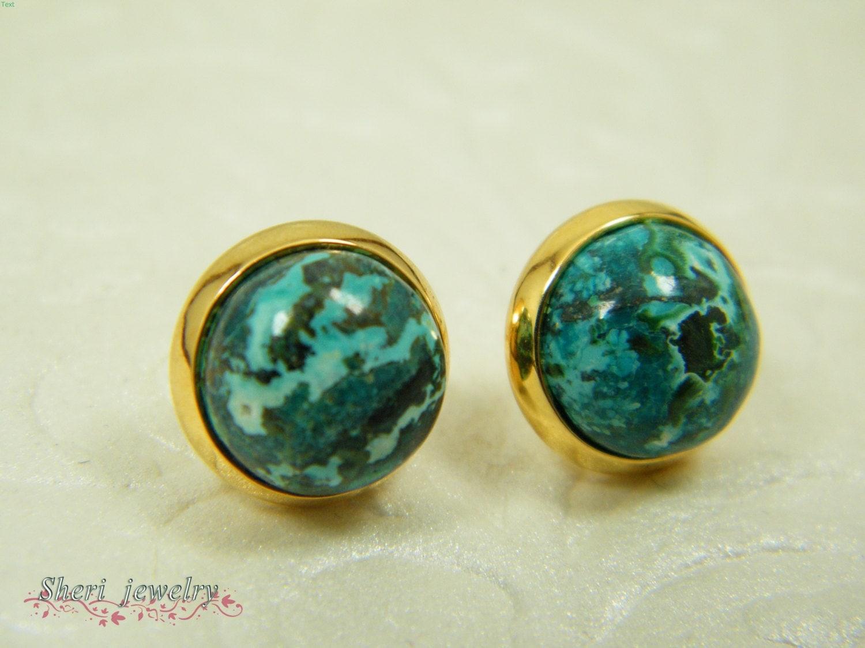 eilat earrings gold stud earrings turquoise gem