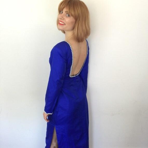 backless dress royal blue silk hourglass straight cut bombshell glamour pearl trim neckline UK 8 10 split burlesque performer