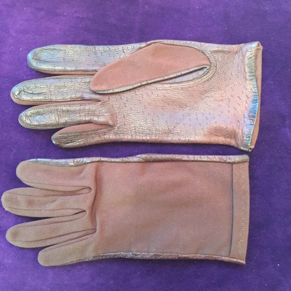 Vintage gloves brown leather short gloves with stretch nylon size 7 1950s gloves 60s Mod accesory Goodwood winter dark brown St Mic