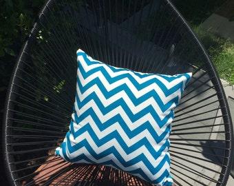 50cm Outdoor Cushion Cover in Premier Prints in Chevron Design in Blue Moon Zig Zag design