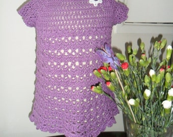 Dress, Handmade, Vintage style, Very pretty Purple, crocheted, girls summer dress with cap sleeves.  Cotton. Age 2-3 years.