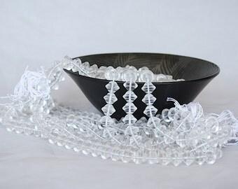 Czech Glass Beads - Flying Saucer Beads - Glass Saturn Beads - Vintage Glass Beads Bulk - Bead Lot - Clear Glass Beads