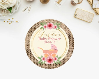PRINTABLE- Girl Baby Shower , Baby Carriage, Rustic, Watercolor floral, Burlap  Favor Tags-YOU PRINT