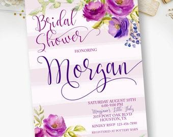 Bridal Shower, Boho, Chic, Floral, Watercolor, Purple, Lavendar, Bridal Shower Invitations  - YOU PRINT