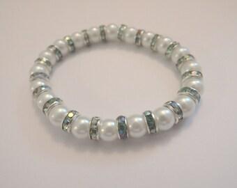 Cream Pearls,  Green Swarovski Crystal Spacers Bracelet