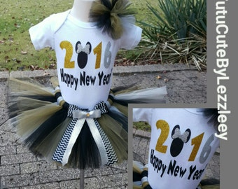 Gold, Black, Silver Minnie Mouse New Year Tutu Set
