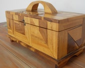 Inlaid Wood Box   Wood Handle .  Vintage Bread Box .   All solid Woods .  Handmade . Excellent Condition . Unusual Accent . Decorating Stmt