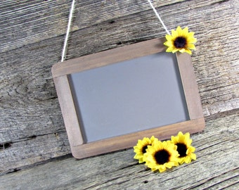 Sunflower Sign, Small Hanging Chalkboard Sign, Rustic Painted Wood Framed Chalkboard, Birthday Party, Baby Shower, Summer Wedding Decor