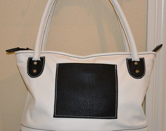 Hand Made White and Black Leather Purse/Tote Bag
