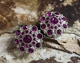 Dark Purple, Vintage Styled Rhinestone Plugs, gauges   7/8, 1 inch
