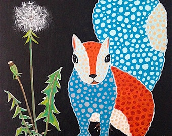 Squirrel Painting with Dandelion Original Art Multi-Color Painting