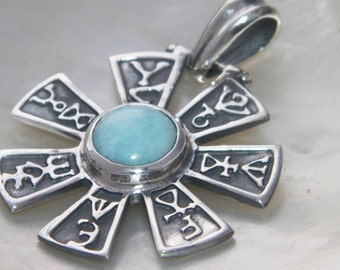 Handcrafted Oxidized .925 Sterling Silver Oxidized Rosette From Pliska Pendant IYI Tangra Dullo