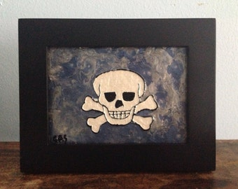 Original artwork metallic skull painting canvas board drawing Halloween art gothic