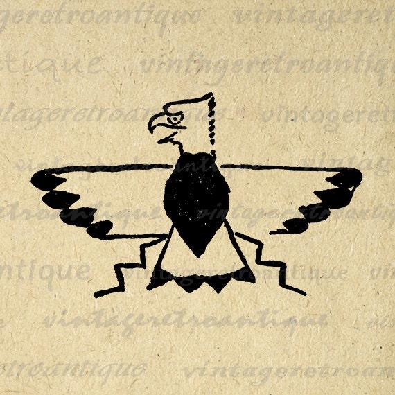 Printable American Indian Eagle Graphic Digital Artwork Download Image Vintage Clip Art Jpg Png Eps 18x18 HQ 300dpi No.1662
