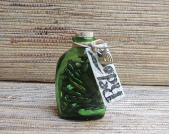 Stick Pearl Bead Treasure Bottle by Redone, Green Vintage Bottle