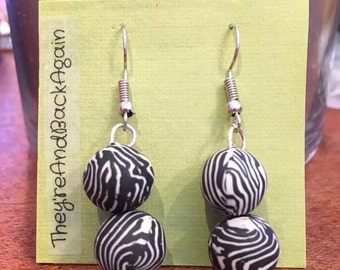 Double Zebra Clay Bead Earrings