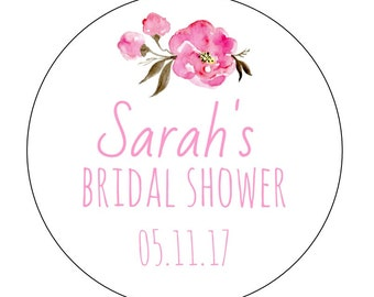 12 Flower Bridal Stickers, Wedding, Favor Labels, Flower Labels, Bridal Shower Labels, Peonies, Wedding Labels, Save the Date, Personalized