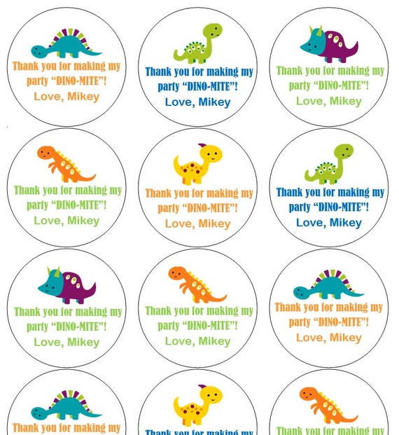 12 Bright Dinosaur Stickers, Thank You Stickers, Goodie