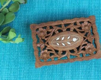 Bohemian Style Vintage Wood Carved Trivet - Pot Holder