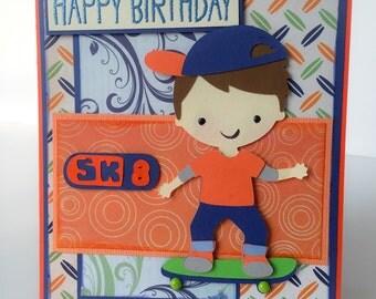 Skateboarding Birthday Card, Boys Birthday, Skateboard Birthday, Handmade Birthday Card, Teen Boys Birthday, Skateboarding, Boys Card