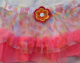 Girls Baby Infant Neon Pink Polka Dot Tutu Skirt - Handmade Irish Rose - Sizes  3 and 12 months