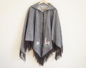 Vintage Alpaca Cape / Grey Wool Poncho