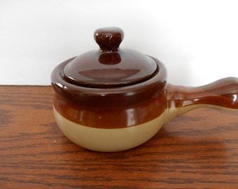 Brown and Tan Crock Soup Bowl