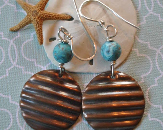 Copper and teal earrings, corrugated metal earrings, rustic earrings, artisan earrings