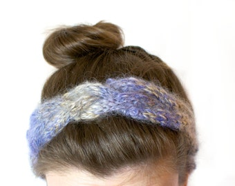 Cable Knit Headband in Lilac, Beige and Cream Handspun Yarn – Braided headband – Warm Stretchy Elasticated Hand Knitted Hairband