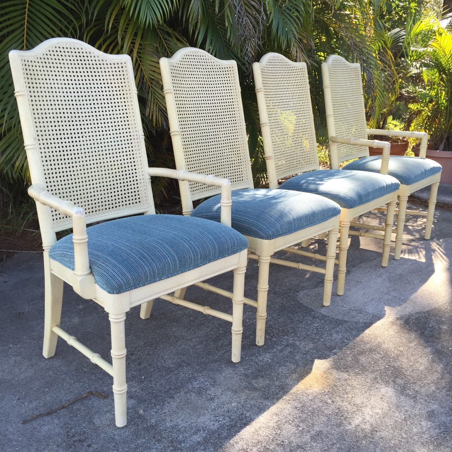 Set Of 4 Vintage Dixie Furniture Faux Bamboo Dining Chairs