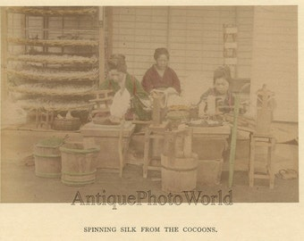 Japan women spinning silk from cocoons antique hand tinted albumen photo
