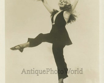 Woman actress dancer Art Deco dress antique photo