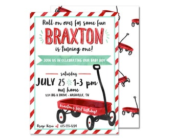 Red Wagon Birthday Invitation PRINTED Boy First Birthday Invite Little Red Wagon Birthday Party Invitation Flyer Invite