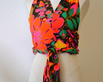1970's Hippie Vintage Homemade Wrap Halter Top in Vibrant colors on Black Acrylic Fabric Adjustable Boho Chic