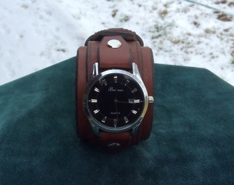 Brown Leather Cuff Watch with Date Feature