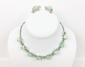 1950s CORO Confetti Luctie Necklace Set in Mint Green Clip On Earrings Pinup MadMen Retro