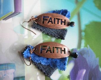 Earrings, denim, lace, copper,beads
