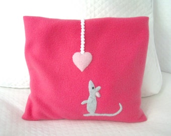 FREE SHIPPING Microwave Heating Pad Cherry Stone Filled Fleece Pillowcase with Mouse  Appliqué