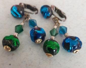 Dichroic Glass Clip Earrings