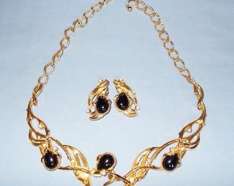 Jose Barrera Granada Necklace Set - Gold Tone with Crystals and Black Cabochons - S1754