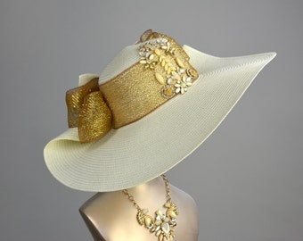 Ivory Wedding Hat Church Kentucky Derby Hat Ivory Gold Bridal Coctail Hat Couture Tea Hat Bridal Hat