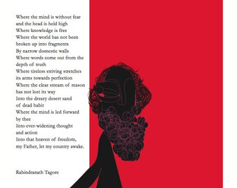 Rabindranath Tagore Where the Mind is without fear poster 2