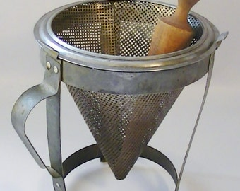 Vintage Food Canning Sieve with Stand and Wood Pestle