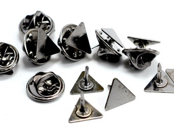40 Pieces Triangle Gunmetal 10x10x10 mm Tie Tack Clutch Pin Findings