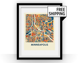 Minneapolis Map Print - Full Color Map Poster