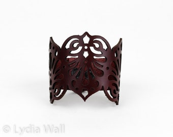 "Laser Cut Leather Cuff ""Teardrops"" in Dark Red"