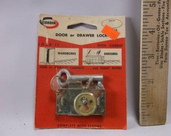 Vintage New Corbin NOS Door or Drawer Lock w/  Skeleton Key, K 701B,New Old Stock USA Made